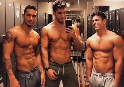 Shirtless Male Beefcake Athletic Muscular Pecs Gym Jock Hunk Trio PHOTO 4X6 F923