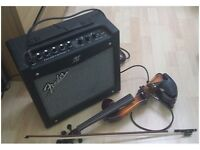 Straus ELECTRIC VIOLIN + FENDER AMP (includes bow, case and cables)