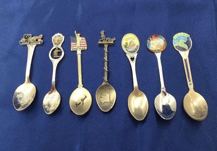 City & State Collector Spoons Lot of 7 NY Vegas Alaska Utah Idaho Ohio Cali