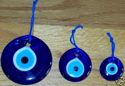 "Glass Turkish Evil Eye Kabbalah Good Luck Wall Charm Set 1.5"" 2"" 3"""