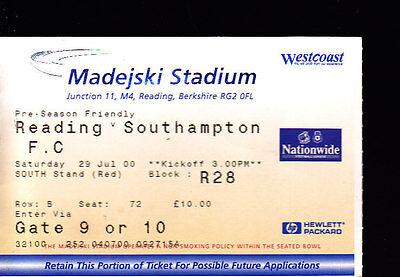 2000/01 READING V SOUTHAMPTON 29-07-00 Pre-Season Friendly Match Ticket