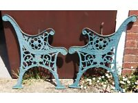 Ornate Cast Iron Garden Bench Ends With Lion Mask