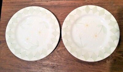 BLOCK BASICS LOVES Me by Deb Mores LOT OF 2 SALAD PLATES 1999 GORGEOUS DAISIES