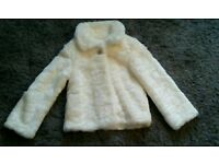 BEAUTIFUL MARKS AND SPENCER CREAM FUR JACKET. WORN ONLY ONCE. EXCELLENT CONDITION