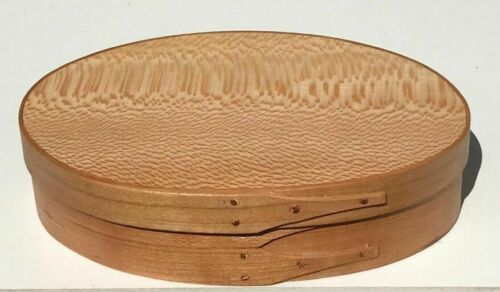 CHERRY AND QUARTER SAWN SYCAMORE SHAKER OVAL BUTTON BOX SIZE # 3