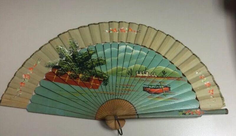 LG FINE ANTIQUE CHINESE HANDFAN VINTAGE