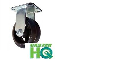 "CASTERHQ-6"" x 2"" Rubber On Iron Wheel - Dumpster & Trash Container Fixed Caster"