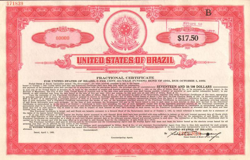 United States of Brazil >> Estados Unidos do Brazil > specimen stock certificate