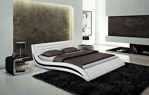 Stylish Wave Headboard Modern Platform Bed