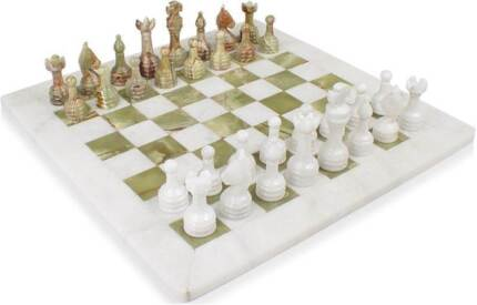"""Marble & Onyx Chess Sets Hand Made - 12"""" Very Rare - GIFT/PRESENT Melbourne CBD Melbourne City Preview"""