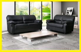🤠🤠Leather Black Candy 3+2 Sofa Sale🤠🤠