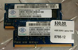 4gb DDR3 RAM (Laptop 2gb x 2)