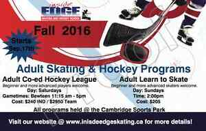 Inside Edge: Adult Learn to Skate and Hockey League Cambridge Kitchener Area image 1