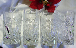 Vintage Crystal High Ball Tall Drinking Glasses -- Set of 4