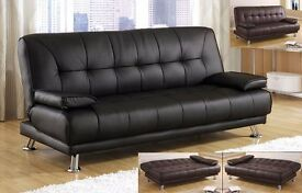 **FREE DELIVERY** BRAND NEW VENICE ITALIAN LEATHER SOFA BED SETTEE IN BLACK or BROWN COLOR SOFABED