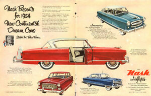 1953 authentic 2-page colour ad for 1954 Nash Airflyte auto