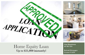 Instant Equity Loan up to 25k with No Appraisal or Legal Fees