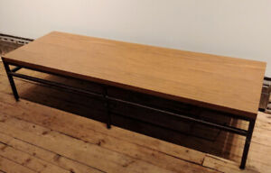 Large Vintage Rectangular Coffee Table/Bench w Steel Frame - 6'