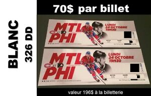 AUBAINE! Canadiens - lundi 24 oct vs Philadelphie
