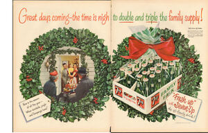 1954 extra large original 2-page, Christmas print ad for 7-Up