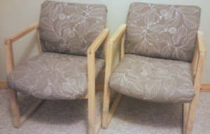 Reception Chairs x2 Solid Wood Frame. Good Cushion. Cheap!