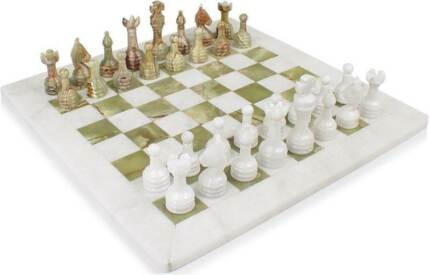 "White Marble & Green Onyx Chess Set Hand Made - 12"" GIFT/PRESENT Melbourne CBD Melbourne City Preview"