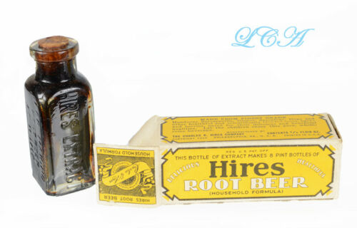 Tiny antique CHAS E HIRES ROOT BEER sample bottle SEALED, in BOX, w/ CONTENTS !