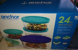 NEW 22-piece Anchor glass storage containers