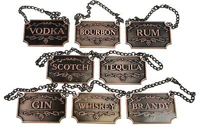 Liquor Decanter Tags / Labels Set of Eight (Copper or Silver Available) -