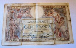 Vintage 1938 Banque de France 100 Francs Circulated Banknote