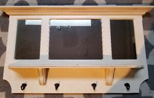 Lovely combination tri-mirror with shelf and clothes hooks