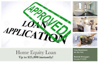 Instant Equity Loan up to $25,000 with No Appraisal or Legal Fee