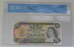 1979 Bank of Canada $20 Note CCCS Certified UNC-67 Gem Unc