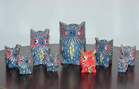 Vintage owls, family of 9