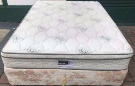 Good condition queen bed base with King Koil Pillow Top mattress