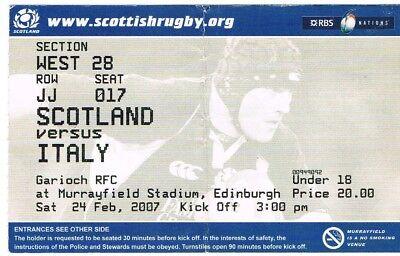 Ticket - Scotland v Italy 24.02.07 Six Nations