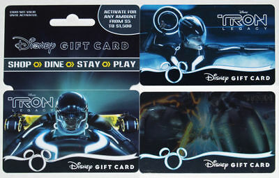 3 Different Disney's TRON LEGACY Gift Cards 2010 Mint Disneyland & Disney Store