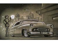 KEITH WEESNER POSTER PRINT 1949 50 51 MERCURY CUSTOM CHOP TOP MERC PINUP SCI-FI