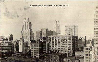 Kansas City Mo Skyline C1930 Real Photo Postcard