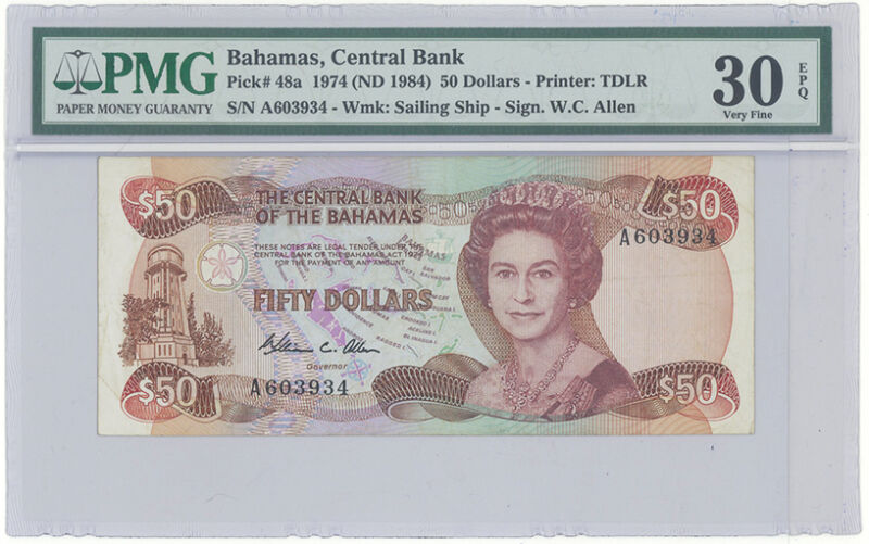 Central Bank Of The Bahamas 50 Dollars Pick 48a 1984 Pmg 30 Epq Tough Note