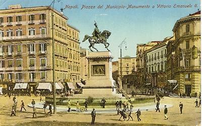 NAPOLI PIAZZA DEL MUNICIPIO MONUMENTO VIAGGIATA 1919