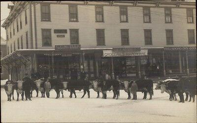 Hillsboro NH Street Grocery Stores Livestock CRISP Real Photo Postcard (Hillsboro Stores)