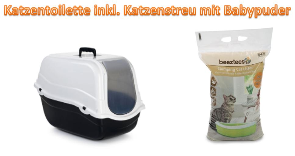 Katzentoilette Katzenklo Filter inkl. Katzenstreu mit Babypuder 54x33x42cm *NEU*