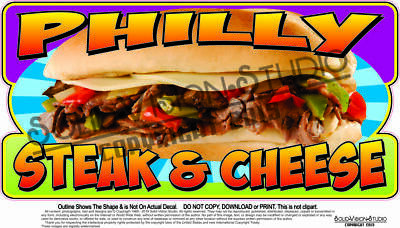 Philly Cheese Steak Concession Trailer Food Truck Restaurant Weatherproof Decal