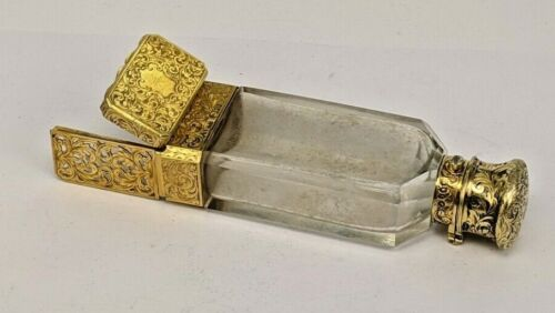 1861 Victorian Sampson Mordan silver gold covered scent bottle vinaigrette
