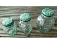 Italian glass display jars with ceramic lids