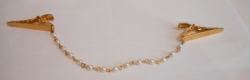 Vintage , Faux Pearls & Brushed Plated Gold Tone Metal Clips, Sweater Guard