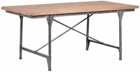 New Mark Webster Brunel Industrial Reclaimed Oak Dining Table with Metal Legs RRP £710