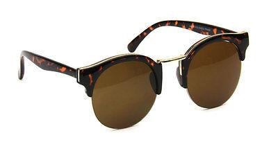 Round Women Sunglasses Brown Cat Eye Vintage Designer Retro Fashion