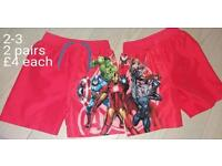 2 pairs of boys avengers swim shorts